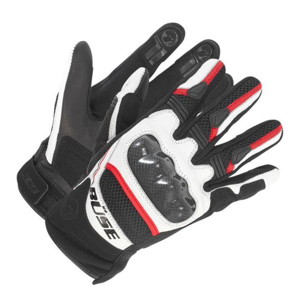 f47222e755d Moto rukavice Büse Safe Ride (černá bílá červená)