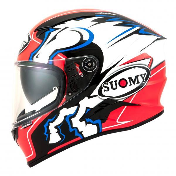Moto přilba SUOMY SPEEDSTAR Zero Four (černá bílá modrá červená fluo) 17195ea5ad